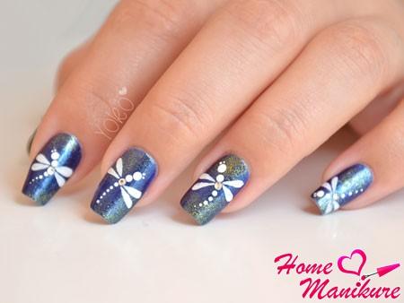 стрекоза дизайн ногтей фото