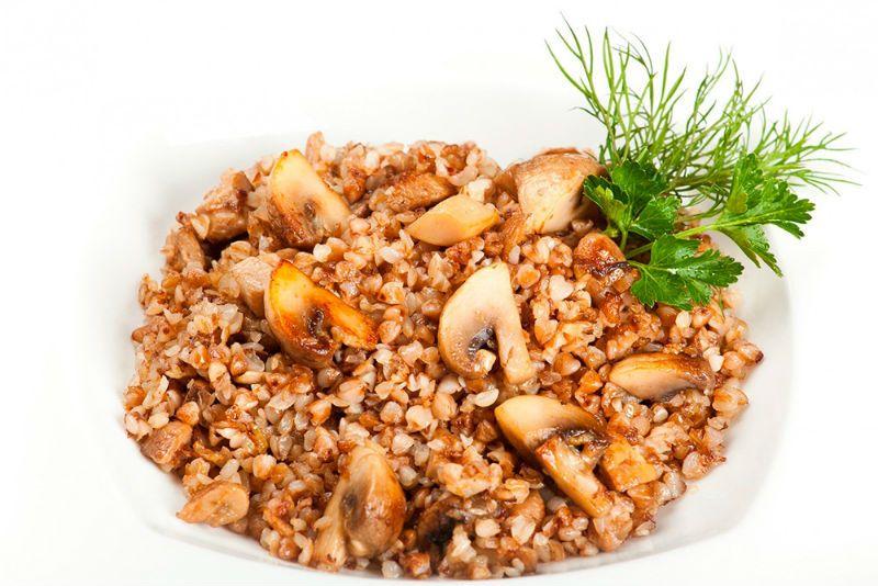 Гречневая каша с грибами и луком калорийность