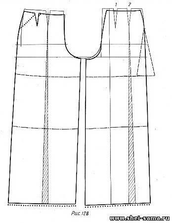 Сшить брюки с широким поясом 52